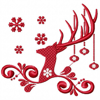 Christmas Antlers #02 Machine Embroidery Design