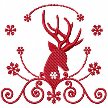 Christmas Antlers #07 Machine Embroidery Design