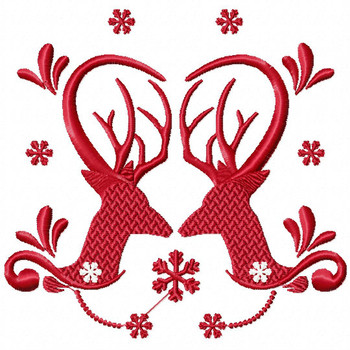 Christmas Antlers #05 Machine Embroidery Design