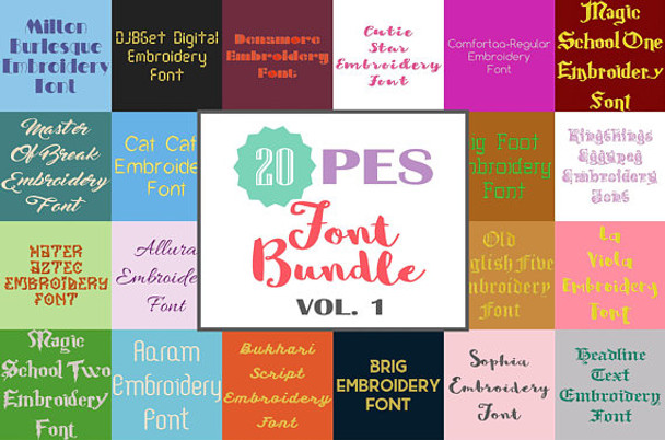 20 PES Font Bundle - Volume 1 - 20 Machine Embroidery Fonts