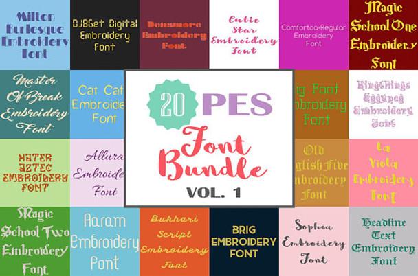 20 PES Font Bundle - Volume 1 - 20 Machine Embroidery Fonts