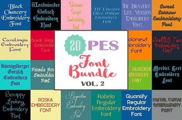 20 PES Font Bundle - Volume 2 - 20 Machine Embroidery Fonts