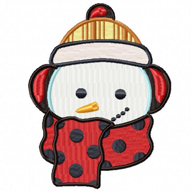 Snowman Head with Polka Scarf - Snowman Version One #08 Machine Embroidery Design