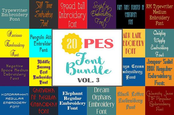 20 PES Font Bundle - Volume 3 - 20 Machine Embroidery Fonts