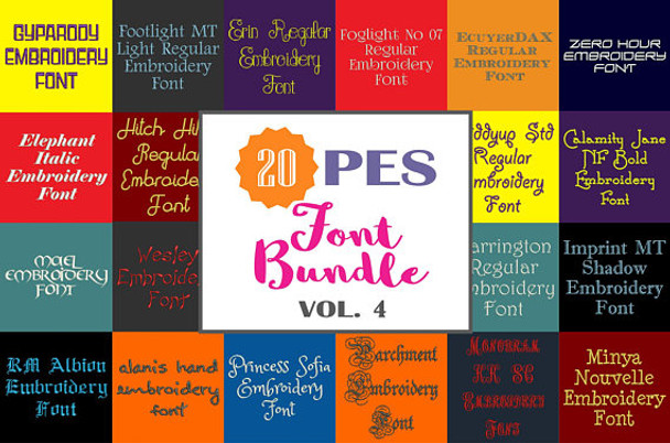 20 PES Font Bundle - Volume 4 - 20 Machine Embroidery Fonts