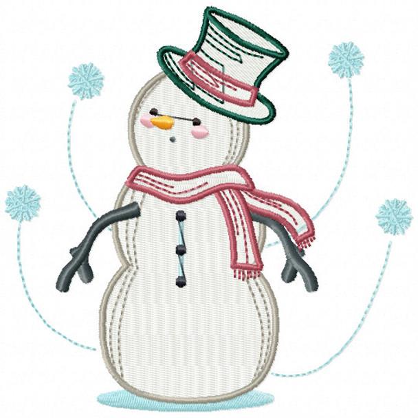Surprised Snowman - Snowman #12 Machine Embroidery Design