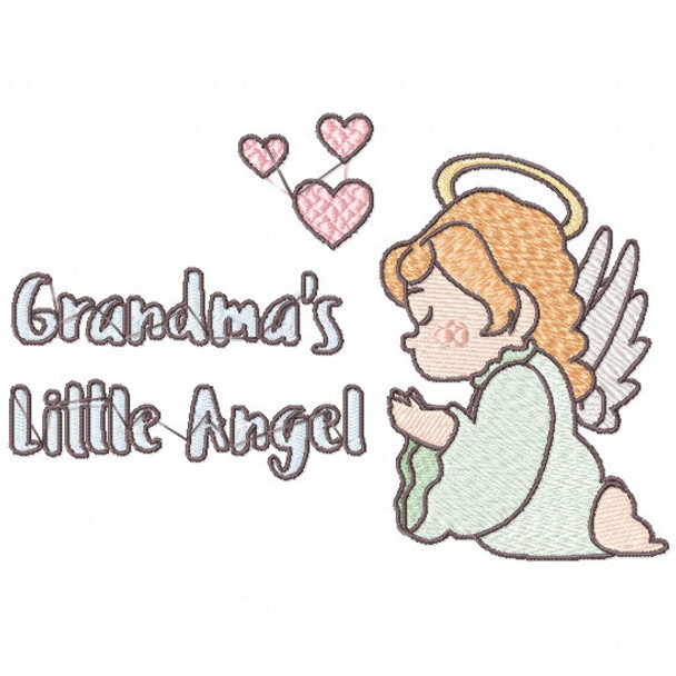 Grandma's Little Angel Praying - Little Angels Typography #09 Machine Embroidery Design
