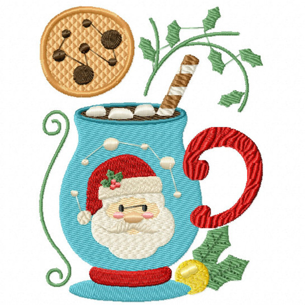 Santa's Mallows Drink - Christmas Hot Drinks #02 Machine Embroidery Design