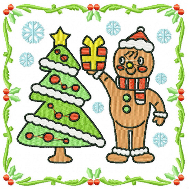 Ginger Bread Man with Christmas Tree - Ginger Breads #01 Machine Embroidery Design