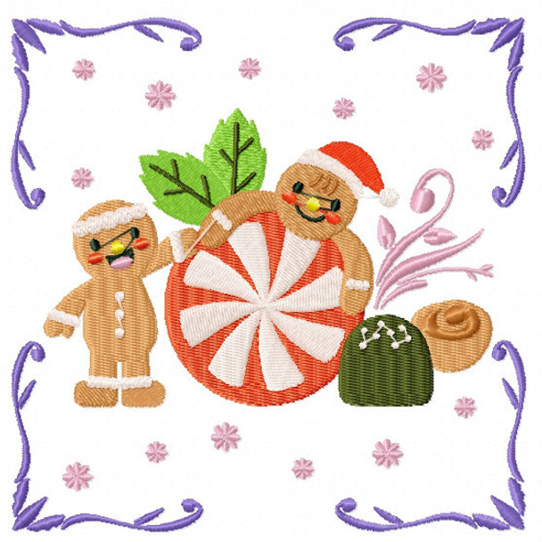 Playful Ginger Breads - Ginger Breads #04 Machine Embroidery Design
