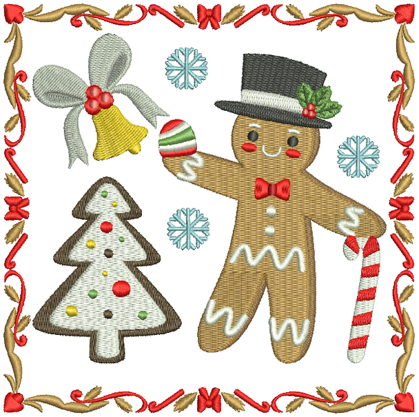 Mr. Ginger Bread Man - Ginger Breads #07 Machine Embroidery Design