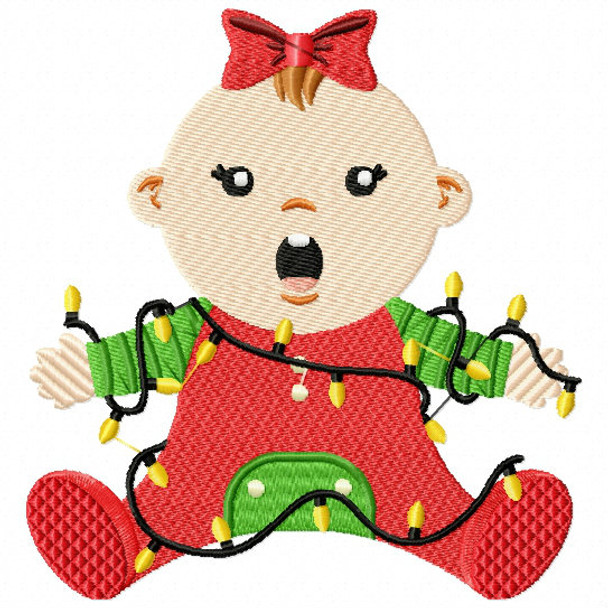 Christmas Light Baby - Christmas Baby #07 Machine Embroidery Design