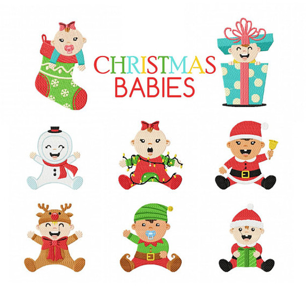 Christmas Babies Collection of 8 Machine Embroidery Designs