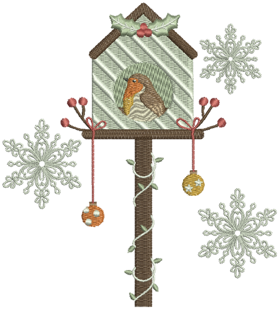 Christmas Robin #04 Machine Embroidery Design