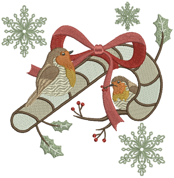 Christmas Robin #07 Machine Embroidery Design