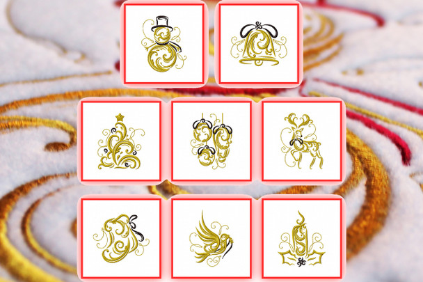 Abstract Christmas Collection of 8 Machine Embroidery Designs in Stitched