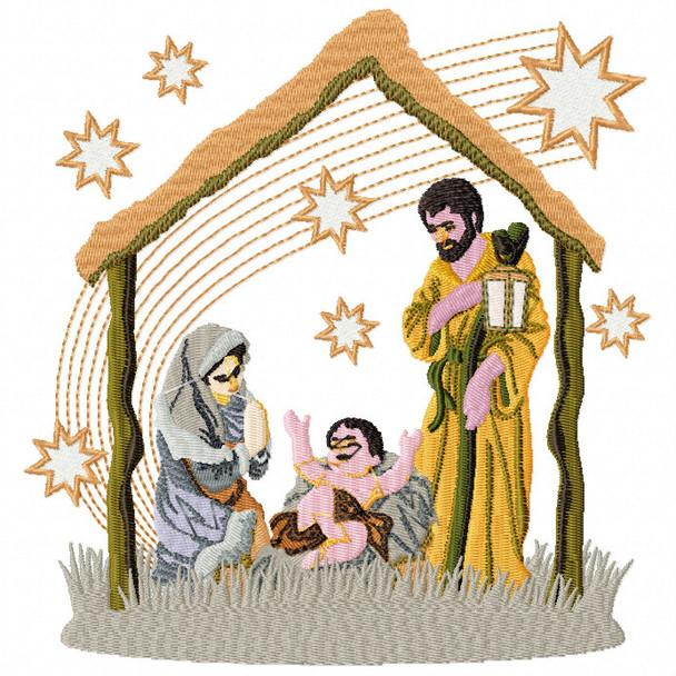 The Nativity Scene 2 - Religious Christmas #08 Machine Embroidery Design