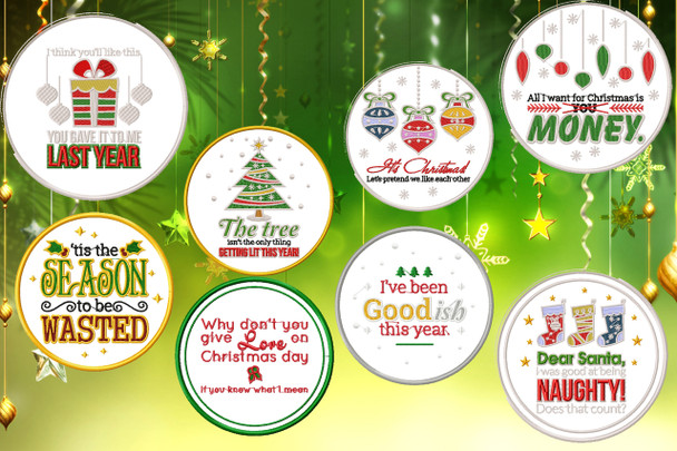 Humor Christmas Patch Collection of 8 Machine Embroidery Designs in Stitched