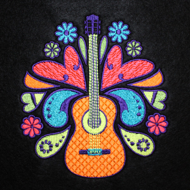 Psychedelic Guitar Design - Psychedelic 60's #06 Machine Embroidery Design