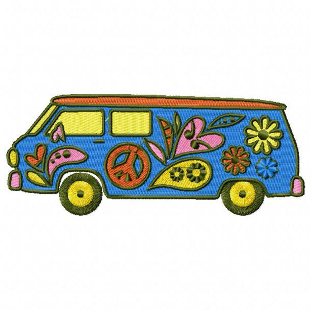 Hippie Van - Psychedelic 60's #09 Machine Embroidery Design