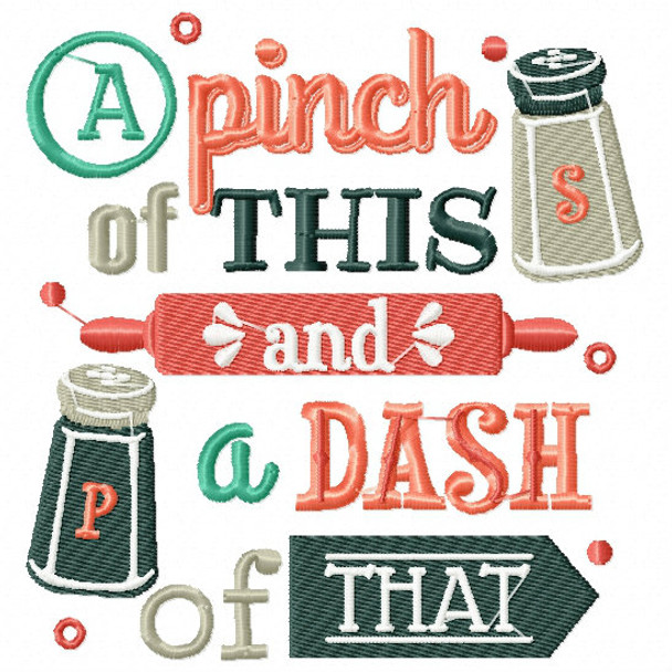 A Pinch of Salt and Pepper - Cooking Hobby #01 Machine Embroidery Design