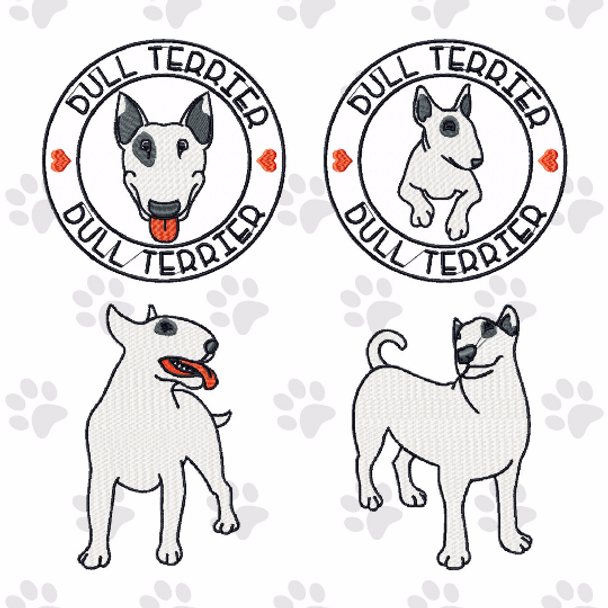 Bull Terrier Collection of 4 Machine Embroidery Designs