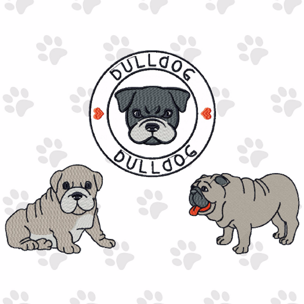 Bulldog Collection of 3 Machine Embroidery Designs
