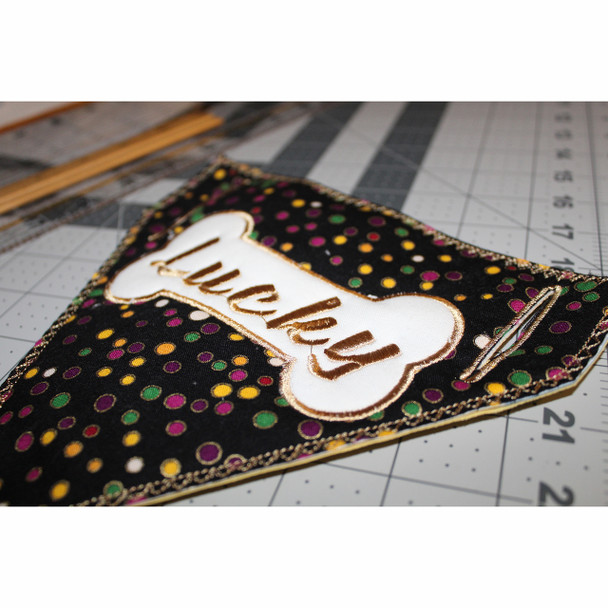 Bone Applique Doggie Bandanna - In The Hoop Machine Embroidery Design