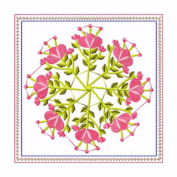 In The Hoop Machine Embroidery Mug Rug - Circle of Flowers Collection #03