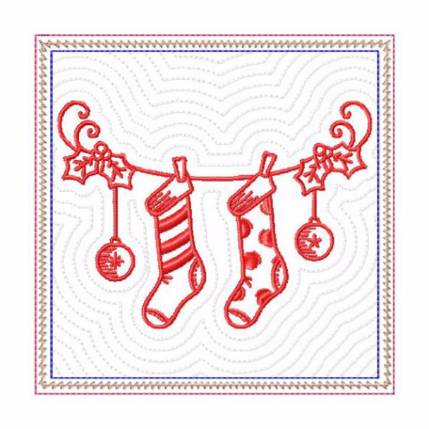 In The Hoop Machine Embroidery Mug Rug - Christmas Redwork Stockings Collection #10