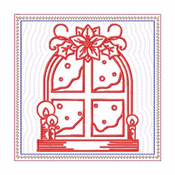 In The Hoop Machine Embroidery Mug Rug - Christmas Redwork Window Collection #12