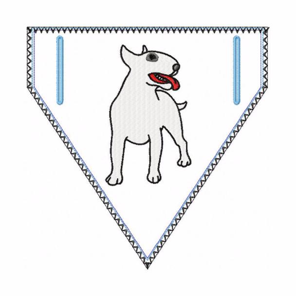 Bull Terrier Doggie Bandana 03 - In The Hoop Machine Embroidery Design