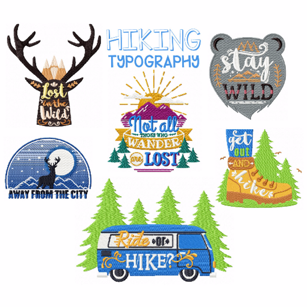 Hiking Collection of 6 Machine Embroidery Designs in Stitched
