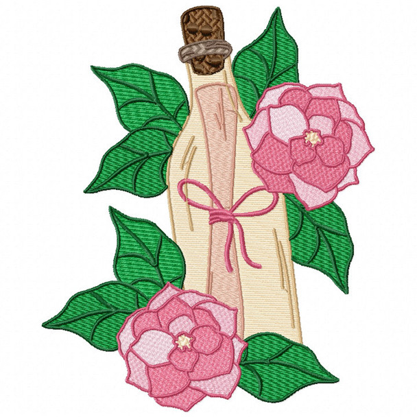 Pink Rose Letter Machine Embroidery Design - Love Letter in a Bottle #03
