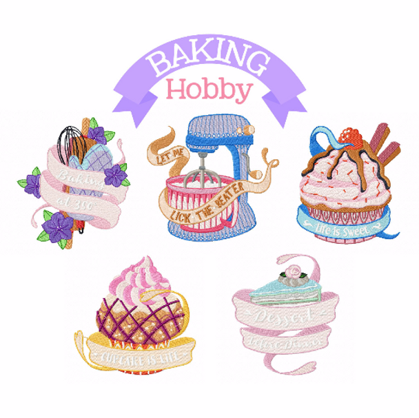 Baking Hobby Collection of 6 Machine Embroidery Designs