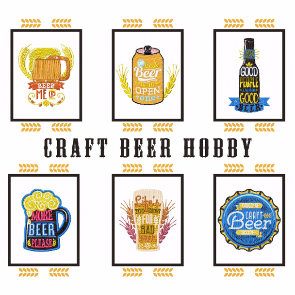 Craft Beer Hobby Collection of 6 Machine Embroidery Designs