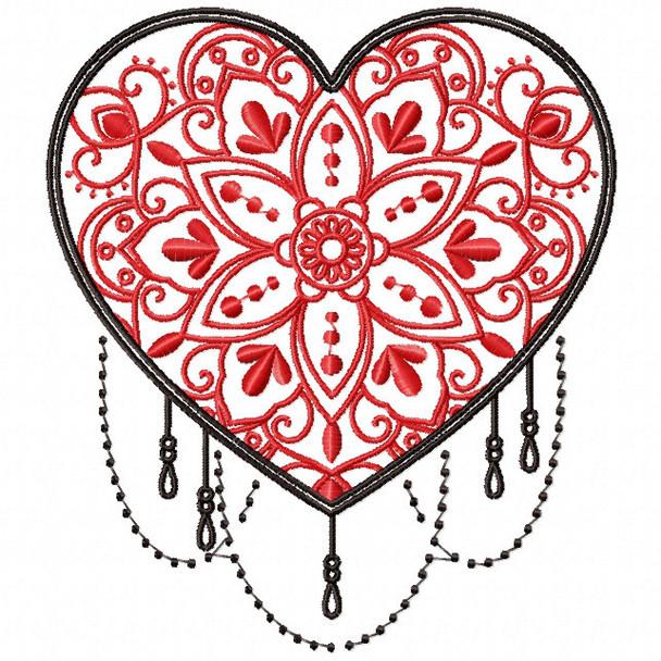 Mandala Heart Collection #02 Machine Embroidery Design