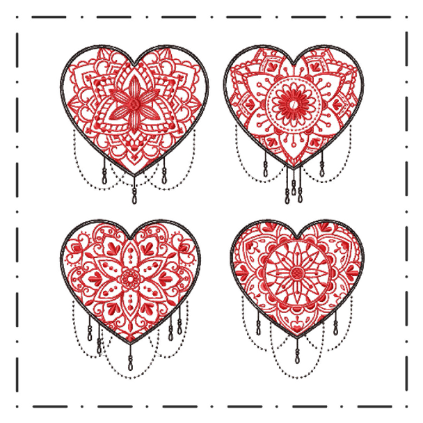 Machine Embroidery Designs - Mandala Hearts Collection of 4