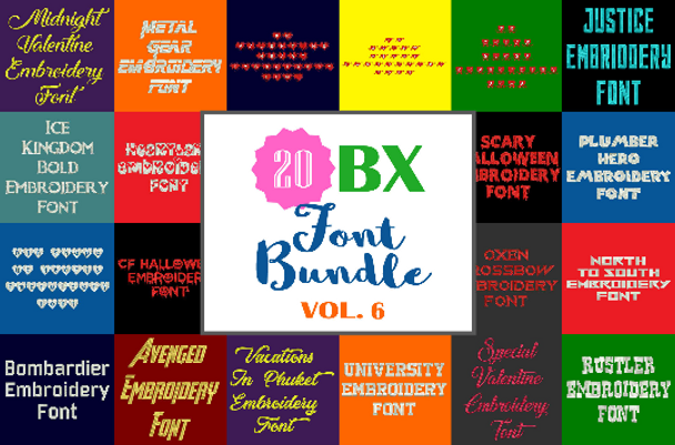 Machine Embroidery Fonts - 20 BX Font Bundle - Volume 6