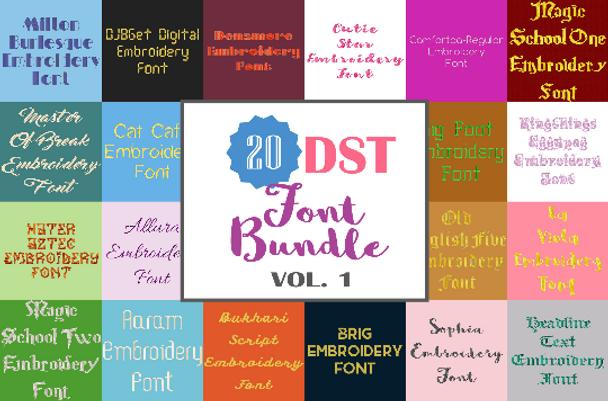 Machine Embroidery Fonts - 20 DST Font Bundle - Volume 1
