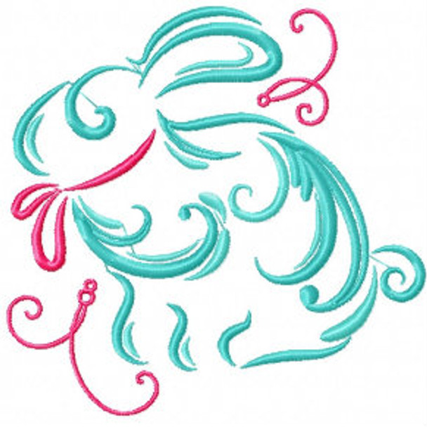 Easter Bunny with Pink Ribbon - Abstract Easter Collection #06 Machine Embroidery Design