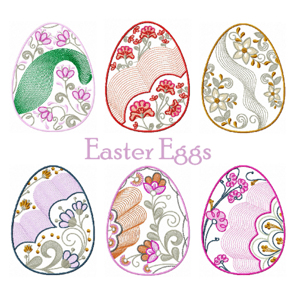 Machine Embroidery Designs - Easter Egg Collection of 6