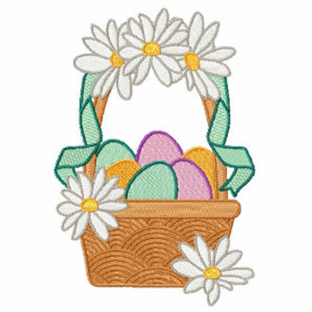 Easter Egg Basket with Daisies - Easter Egg Collection #05 Machine Embroidery Design