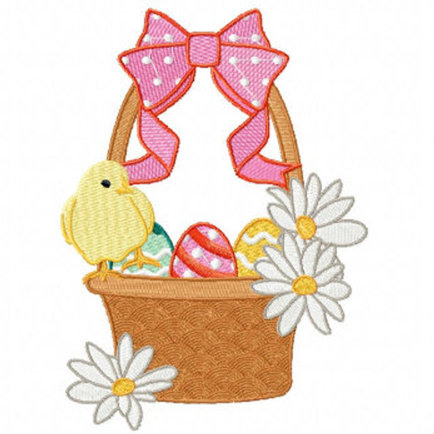 Easter Eggs with Pink Ribbon Basket - Easter Egg Collection #07 Machine Embroidery Design