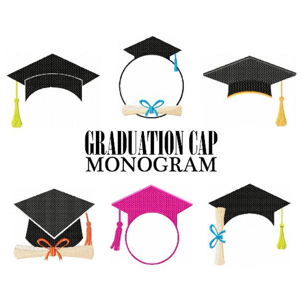 Machine Embroidery Designs - Graduation Cap Monogram Collection of 6
