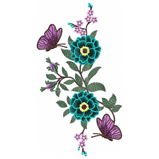 Flower Garden And Butterflies #04