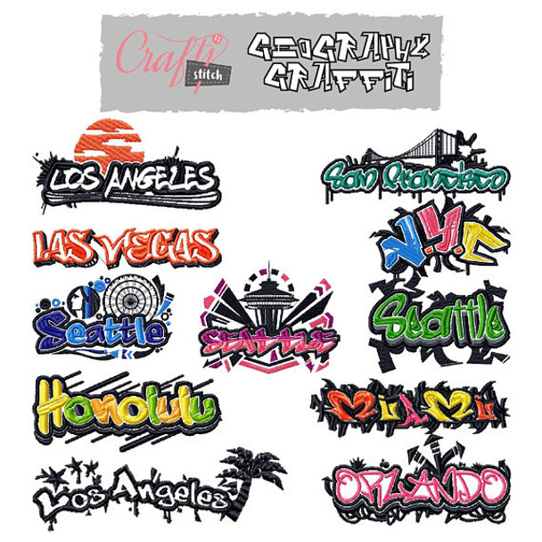 Geography Graffiti Collection of 11 Machine Embroidery Designs - Five Sizes: 3.5 to 5.5 inch - Instant Download!