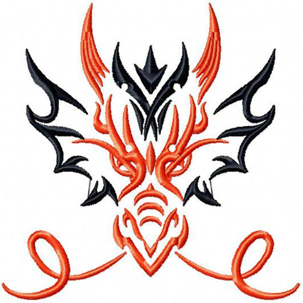 Smoking Dragon - Tribal Dragon #9 Machine Embroidery Design