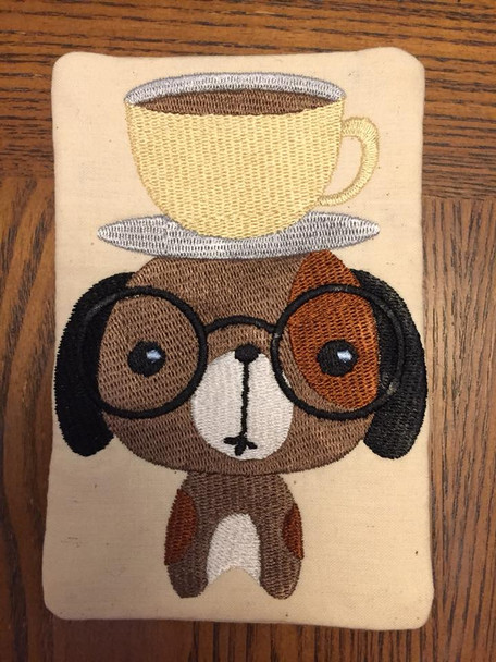 Cute Dog With Cup On Head Mug Rug In The Hoop Machine Embroidery Design