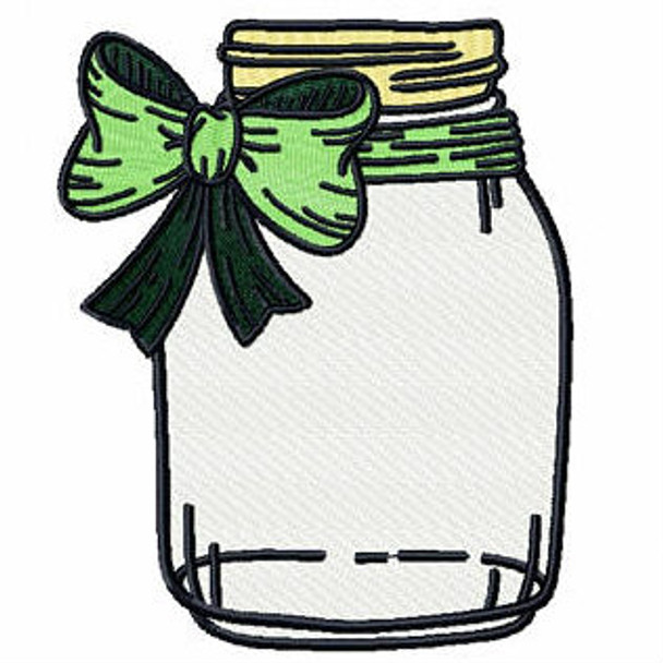 Green Bow Mason Jar - Canning Jars #04 Machine Embroidery Design